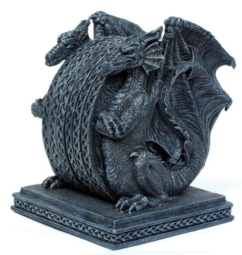 STONE LIKE DRAGON COASTER STATUE-FIGURINE (6852)