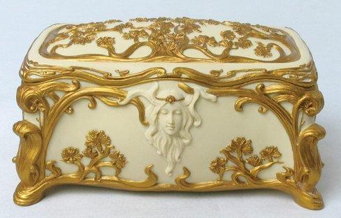 ART NOUVEAU LADY JEWELRY BOX (6937)
