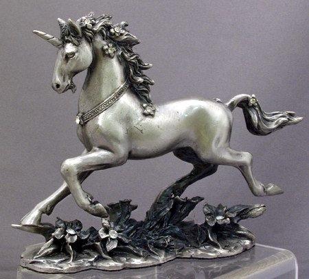UNICORN-HORSE-FIGURINE-STATUE PEWTER (6574s)