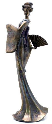 JAPANESE GEISHA GIRL GRACEFUL BRONZE LIKE STATUE-FIGURINE (6856)