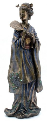 JAPANESE GEISHA ICHISUMI BRONZE LIKE STATUE-FIGURINE (6958)