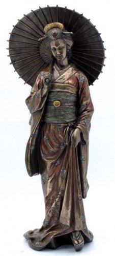 JAPANESE GEISHA MANEHIDE BRONZE LIKE STATUE-FIGURINE (6961)