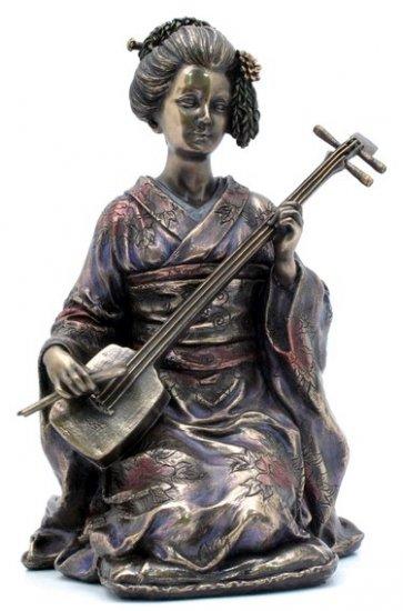 JAPANESE GEISHA UMERYU BRONZE LIKE STATUE-FIGURINE (6962)