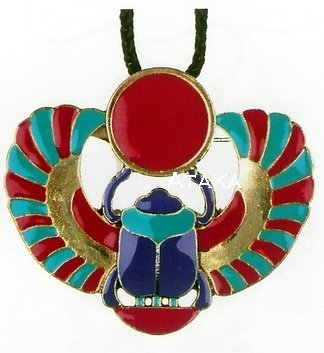 ANCIETN EGYPTIAN-WINGED SCARAB PENDANT NECKLACE (2440S)