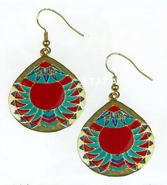 ANCIENT EGYPTIAN CHEVRON MEDALLION EARRING  (2444S)
