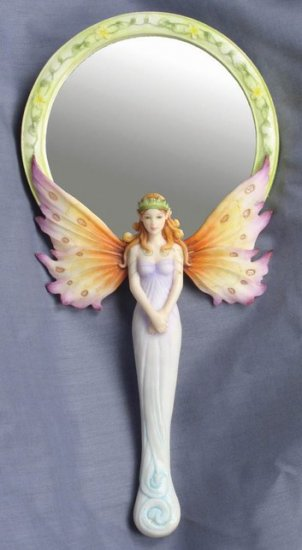 BUTTERFLY FAIRY W HUMMING BIRD HAND MIRROR-FIGURINE-STATUE- by Jody Bergsma (6994)