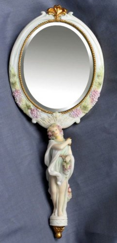 AUTUMN LADY HAND MIRROR-GREEK MYTHOLOGY-ROMAN FIGURINE (6844)