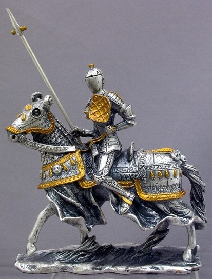 MEDIEVAL KNIGHT ON HORSE W SPEAR-FIGURINE-STATUE PEWTER (6959s)