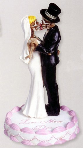 SKULL COUPLE FIGURINE/STATUE CAKE TOPPER (7380S)
