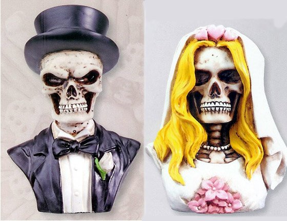 SKELETON COUPLE FIGURINES BUST CAKE TOPPER (7238S/7239S)