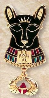 "BASTET-SCARAB PENDANT-26""CORD NECKLACE-Egyptian Fine Jewelry Set (2302)"