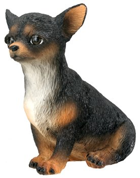 CHIHUAHUA-BLACK-PUPPY-DOG FIGURINE CUTE (6628s)