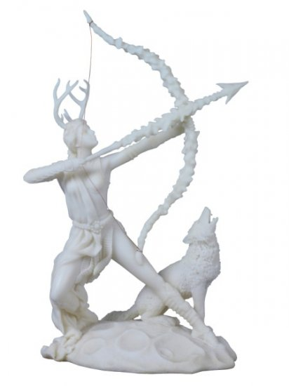 ARTEMIS W HOWLING WOLF-GREEK MYTHOLGOY-ROMAN-SCULPTURE-ARTWORK-MUSEUM COLLECTION (8001)