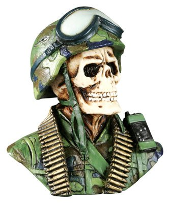 MARINE-ARMY-SOLDIER SKULL-SKELETONS FIGURINE-STATUE-HALLOWEEN (6391)