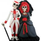 DOD SKELETON COUPLE GOTHIC STYLE HALLOWEEN WEDDING CAKE TOPPER (7814S)