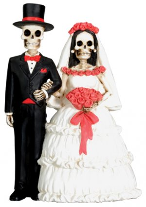 DOD SKELETON/SKULL COUPLE HALLOWEEN WEDDING CAKE TOPPER (7682S)