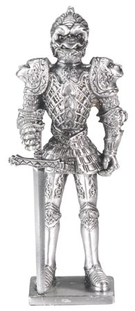 MEDIEVAL WARRIOR SUIT OF ARMOR-PEWTER-FIGURINE (6161)