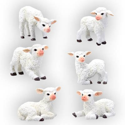 SET OF 6-SHEEPS-FIGURINES-DISPLAY-FUN s(5561)