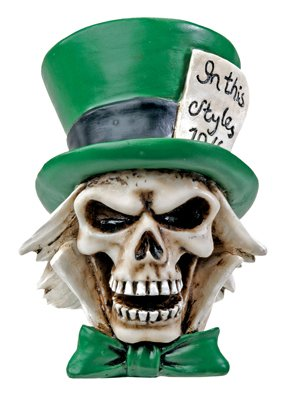 GREEN MAD HATTER SKULL FIGURINE 7248S