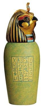 EGYPTIAN CANOPIC JAR -Large Canopic Jar -qebsenuef (5317s)