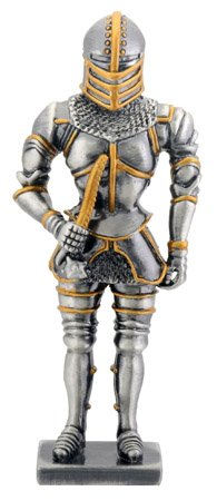 ITALIAN GOTHIC KNIGHT-FIGURINE-STATUE PEWTER (6756s)