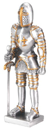 MEDIEVAL KNIGHT W SWORD-PEWTER-FIGURINE (6758S)