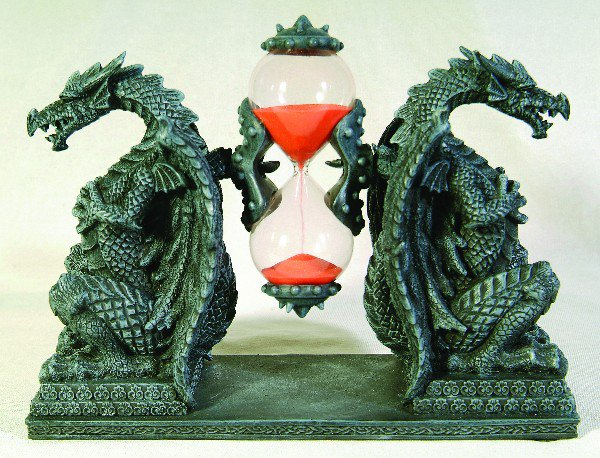DRAGON SANDTIMER-HOUR GLASS-FIGURINE-STATUE (6686)