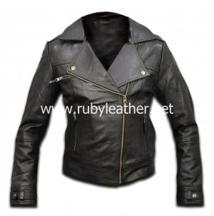 Genuine Black color leather jacket for women with Golden zipper