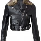 women biker leather jacket with real rabbit fur collar by &#39;Ruby Leather&#39;