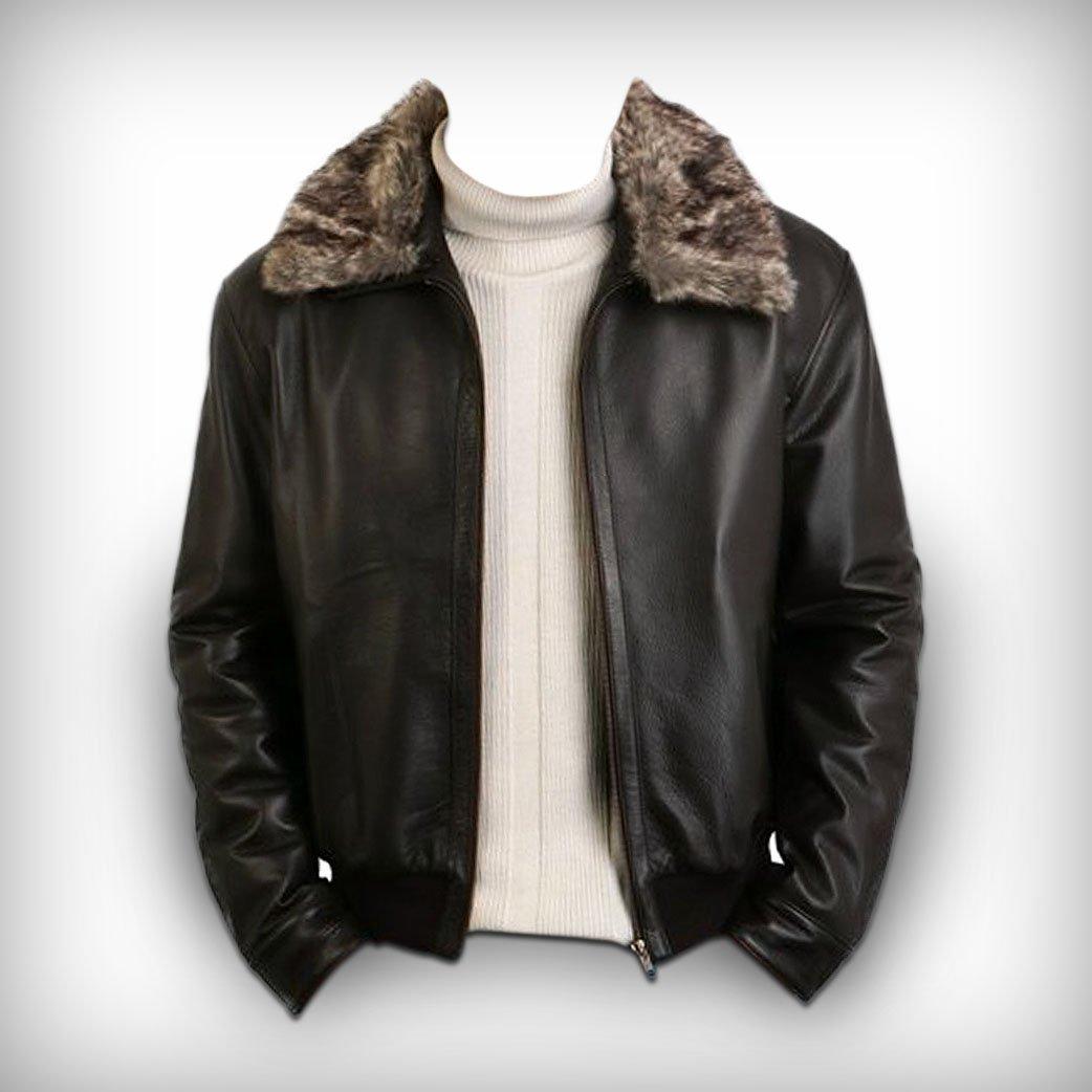Men s brown leather pilot jacket fur collar free shipping to australia