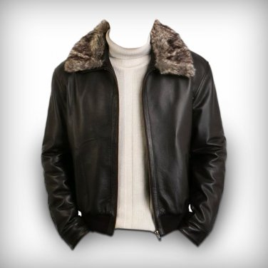brown leather pilot jacket fur collar Free Shipping to Australia