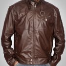 Men 2016 Brown Leather Jacket - Men leather bomber jacket