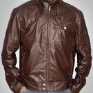 Men 2016 Brown Leather Jacket - Men leather bomber jacket