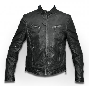 women black color Leather motorbike jacket women bomber jacket