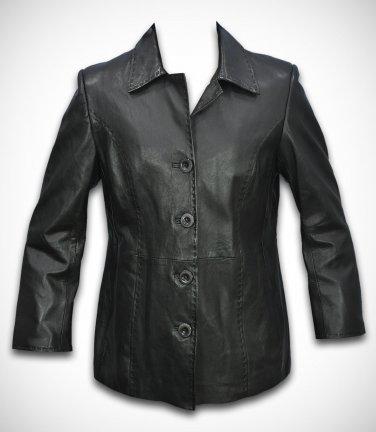 leather coat Long leather jacket leather blazer women jacket Black color ladies jacket Style