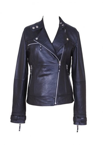 women black color lamb leather biker jacket by Ruby leather