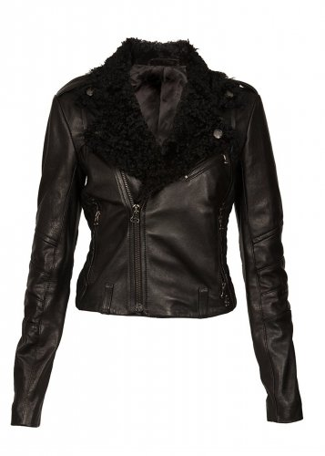Women Biker Leather jacket Motorbike jacket with sheepskin fur collar by Ruby Leather