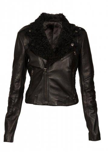 Women Biker Leather jacket Motorbike jacket with sheepskin fur collar by Ruby Leather