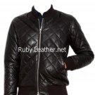 Men quilted leather jacket with 2 way zip Free Shipping to Australia & New Zealand!!