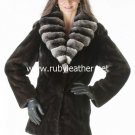 women winter fur coat, mink fur coat, Chinchilla fur Collar, coat