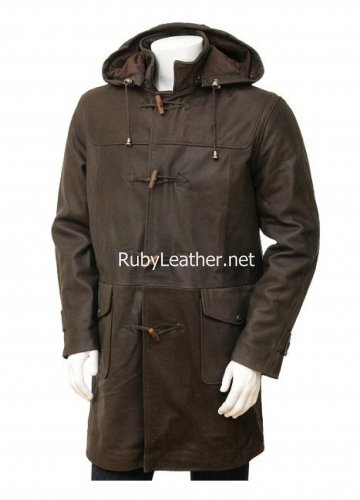 Men's Leather Duffle Coat in Brown,Leather coat.