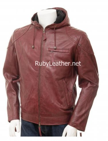 Men Oxblood Hood Leather jacket , Men Leather jacket,leather jacket with hood.