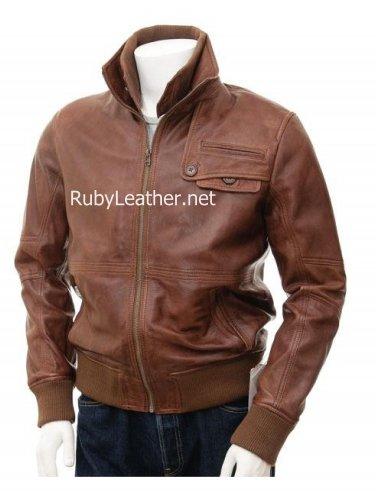 Men Cocoa bomber leather jacket, men leather jacket, Men bomber leather jacket
