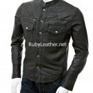 Men Black Leather Rock Jacket.