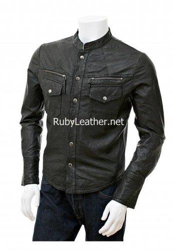 Men Black Leather Rock Jacket.