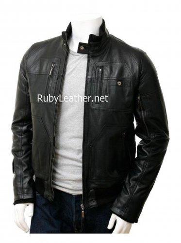 Men Black Bomber leather jacket.Men's Bomber Leather Jacket in Black