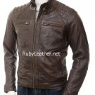 Men Brown Biker Leather Jacket, Brown jacket for men , leather jacket for men