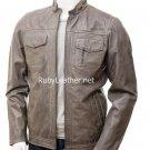 Men Grey Leather Jacket,