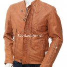 Tan color Men`s Biker Leather Jacket