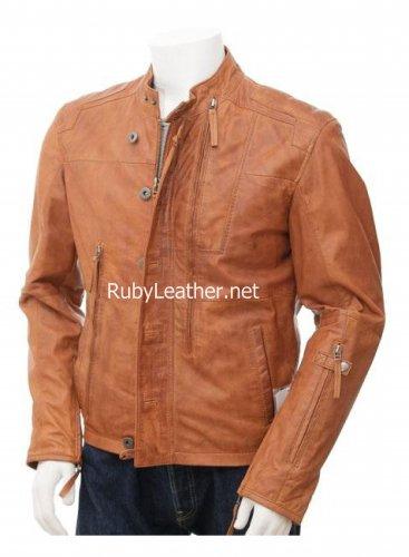 Tan color Men`s Biker Leather Jacket